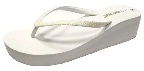 ab826d985464 Sweet Years Infradito Ciabatte Mare Donna MOD. 0309 Zeppa Bianco Glitter  (39 EU)