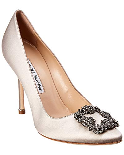 Manolo Blahnik Hangisi 105 Satin Pump, 39.5, Metallic