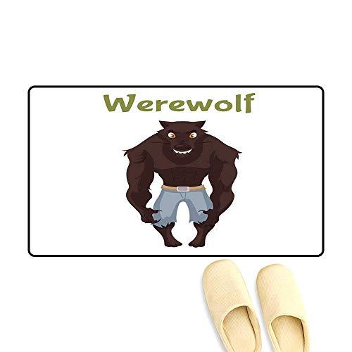 Customize Door mats for Home Mat Scary Werewolf Halloween Costume idea -