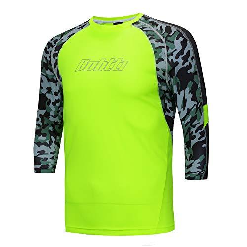 Bpbtti Men's MTB BMX Mountain Bike Shirt 3/4 Sleeve Biking Cycling Jersey (2XL, Hi-Viz Yellow) (Best Bike For Big Guys)