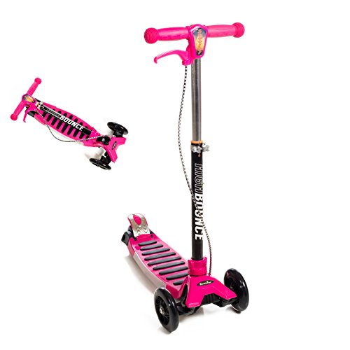 High Bounce Max Glider Deluxe Folding Scooter with T-bar Adjustable Handle and Hand Brake (Pink)