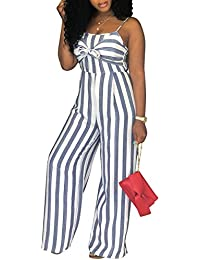Women's Sexy Spaghetti Strap Striped High Waist Wide Leg...
