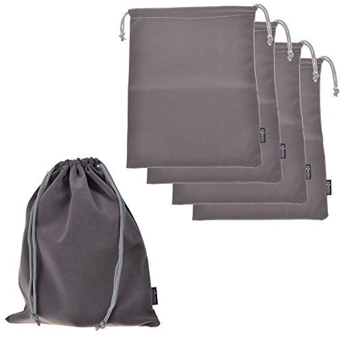 Cosmos ® Set of 5 Premium Gray Travel Carry Drawstring Headphones Pouch Bag (Gray Color)