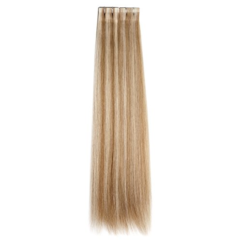 Cheap Ty.Hermenlisa 18″ Silky Straight Tape in Hair Extensions 100% European Virgin Cuticles Real Remy Human Hair Skin Weft, 20pcs/Pack, 43g,Dark Light Ash Blonde(#P14.22)