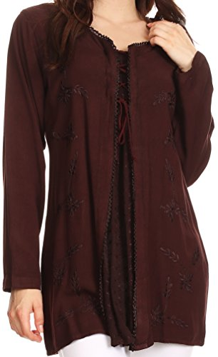 Handmade Embroidered Cotton Top (Sakkas 1660 - Caylyan Long Adjustable Embroidered Long Sleeve Blouse With Corset Top - Chocolate Brown - S/M)