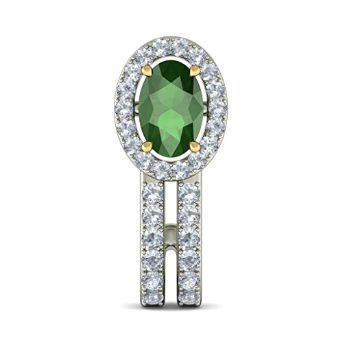 18K Or Blanc 0,45carat au total White-diamond (IJ | SI) et Tsavorite Boucles d'oreille à tige