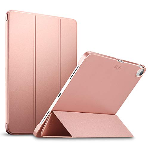 ESR Yippee Premium Trifold Case for iPad Pro 11, [Rubber Cover] Slim Fit Leather Smart Case with Rubber Back Cover [Apple Pencil Charging not Supported] Compatible with iPad Pro 11 2018, Rose Gold