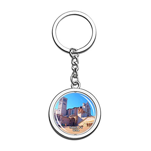 The Cathedral Basilica of St. Francis of Assisi Santa Fe United States USA US Keychain Spinning Round Stainless Steel Keychains Souvenir Key Chain Ring (Cathedral Basilica Of St Francis Of Assisi)