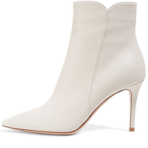 ELASHE Women Ankle Boots Mid Heel | 8cm Pointy Toe Stilettos Ankle Boots | Women's Fashion Stiletto Mid-High Heel Ankle Boots White