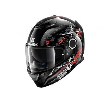 Shark casco de moto Spartan rughed Kar, color negro/rojo, talla M