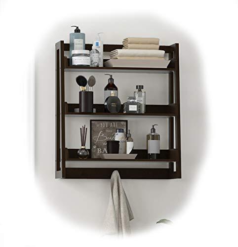 UTEX 3 Tier Bathroom Shelf Wall Mounted with Towel Hooks, Bathroom Organizer Shelf Over The Toilet (Espresso) by UTEX