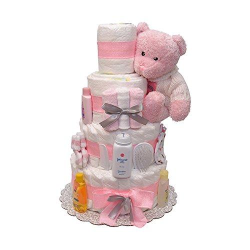 Sweet Dreams Baby Girls Diaper Cake 4 Tiers