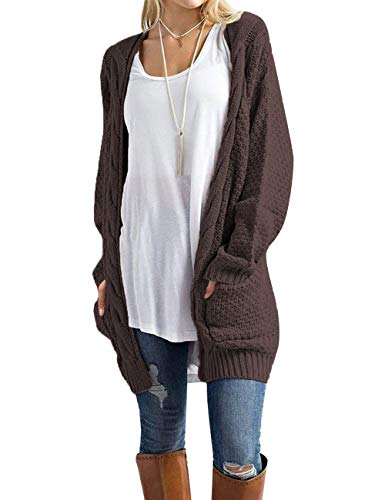 (Traleubie Women's Open Front Long Sleeve Boho Boyfriend Knit Chunky Cardigan Sweater Brown M)