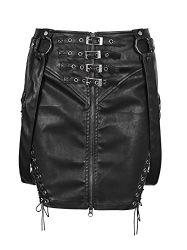 Punk Rave Full Zip Steampunk Skirt for Women Side Bandage Bib Buckles Bright PU Overall Mini Dress Black L