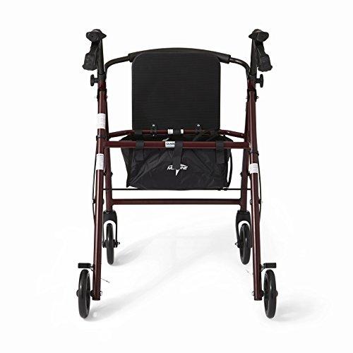 """Medline Steel Foldable Adult Rollator Mobility Walker with 6"""" Wheels, Burgundy by Medline (Image #4)"""
