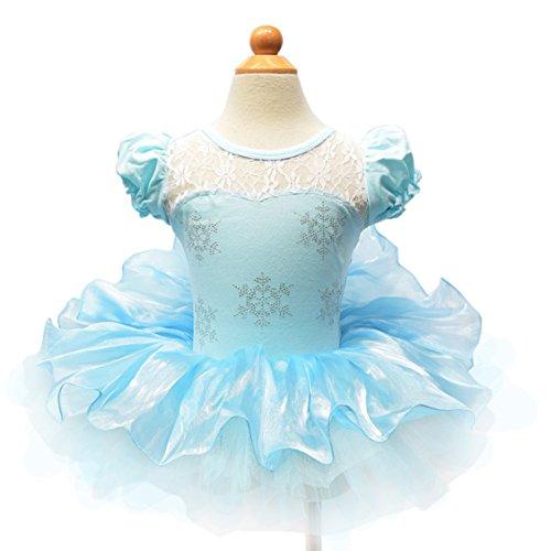 Moonight Girls Snowflake Ice Princess Queen Dancing Dress(6-7 (Ice Princess Dance Costume)
