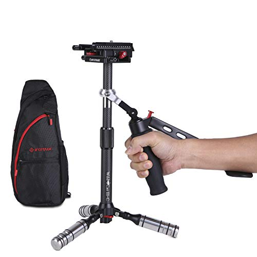 IFOOTAGE Carbon Fiber Handheld Camera Stabilizer 17.2 inches Video Steadycam Stabilizer with 1/4 inch Screw Quick Release Plate Compatible for DSLR Cameras Camcorders, Up Load 3.3 lbs