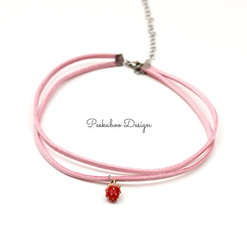 usongs Cute strawberry pink choker collar double suede cord necklace pendant clavicle girls color ()