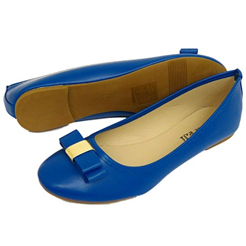 Ladies Flat Blue Slip-On Work School Shoes Dolly Comfy Ballet Pumps Sizes 3-8 sjzwYx