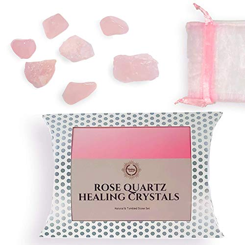Natural & Tumbled Rose Quartz Stones Healing Crystals Gemstone with Pink Crystal Pouch | Rose Quartz Healing Crystals For Love & Healthy Relationships | 7 Pcs Pink Quartz Crystal Kit