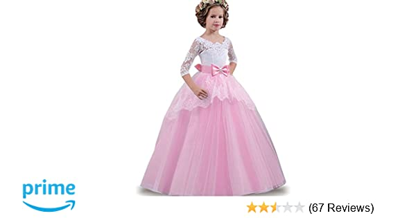 74f5e4edb699 Amazon.com  LZH Girls Wedding Dress Princess Pageant Embroidery Ball ...