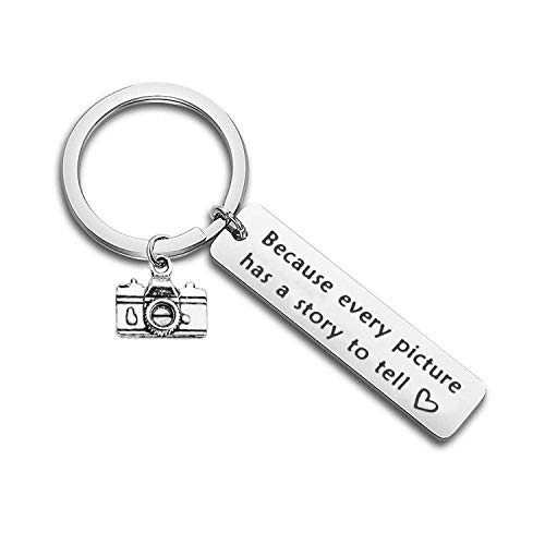 Photographer Keychain Because Every Picture Has A Story to Tell Photography Gift Camera Keychain (Camera Keychain)