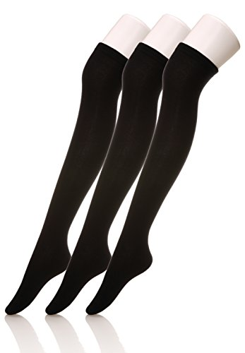 Dosoni Girl Over Knee High Socks Cotton Thigh High Stockings Black 3-Pack (3 Pack Black)