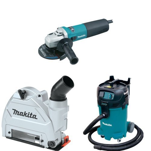 Makita 9565CV 5-Inch SJS High-Power Angle Grinder, 196846-1 Dust Extraction Tuck Point Guard, VC4710 12 Gallon Xtract Vac Wet/Dry Dust Extractor/Vacuum