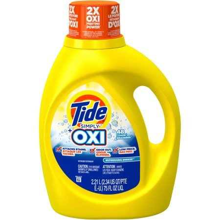 Tide Simply Plus Oxi Liquid Laundry Detergent, Refreshing Breeze Scent, 75 oz, 48 Loads (Tide Laundry Detergent Baby)