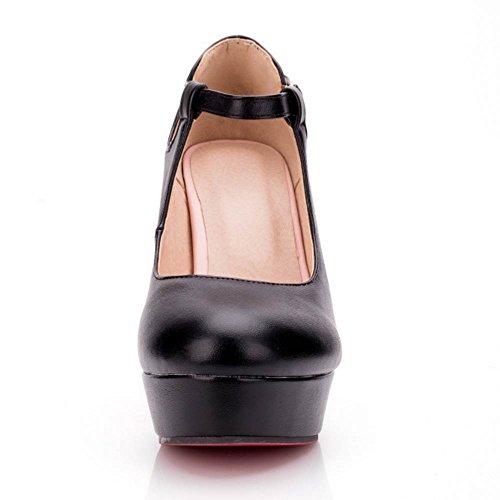 TAOFFEN Women Fashion Ankle Strap Pumps Black S6EFJ