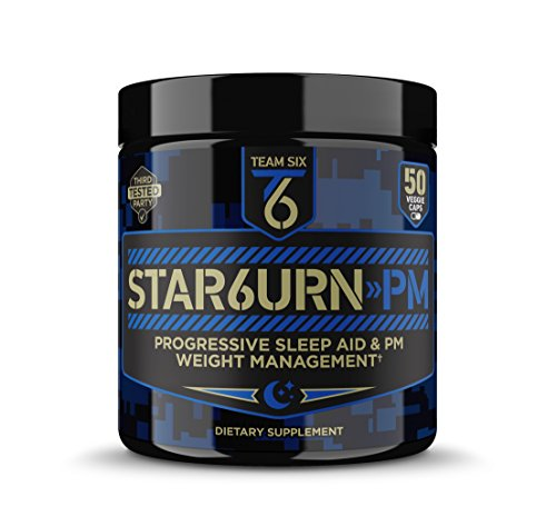 T6 STAR6URN-PM - Fat Burner and Sleep Aid for Muscle-Preserving Weight Loss and Stress Relief, Green Coffee Bean and Garcinia Cambogia Extract, 50 veggie caps