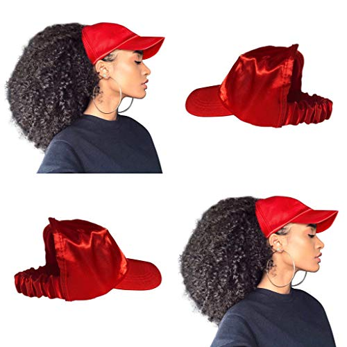- CurlCap Natural Hair Backless Cap - Satin Lined Baseball Hat for Women (Red)