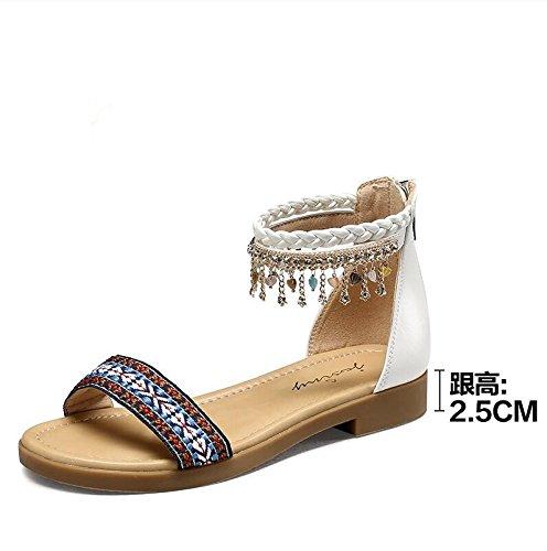 Moda Mujer verano sandalias confortables tacones altos,38 gold White