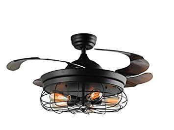 42 Ceiling Fans Invisible Retractable Blades Farmhouse Industrial Pendant Lamp Chandelier Remote Control 5 Edison Bulbs Black Finish Youtube Video Demo