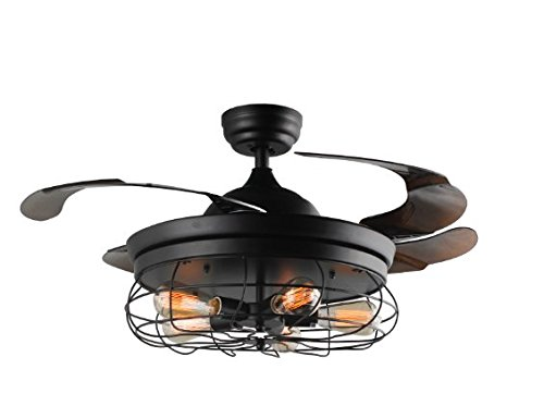 (42'' Ceiling Fans Invisible Retractable Blades Farmhouse Industrial Pendant Lamp Chandelier Remote Control 5 Edison Bulbs (Black Finish) (Youtube Video Demo))