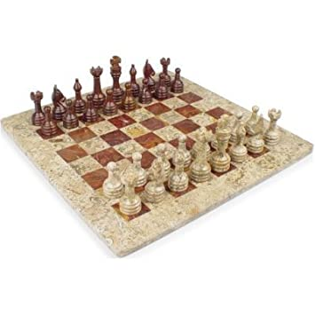 16u0026quot; X 16u0026quot; Fossil And Red Onyx Stone Chess Sets