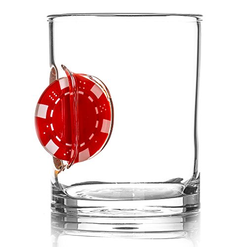The Original Whiskey Glass Embedded with a Casino Chip - Red - Gift Poker