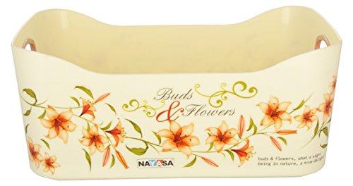 Nayasa Plastic Passion Fruit Basket Deluxe Set, Set of 2, Brown
