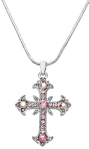 "Beautiful Light Pink and AB Crystals 1-1/4"" Filigree Silver Tone Cross Pendant/Necklace Fashion Jewelry"