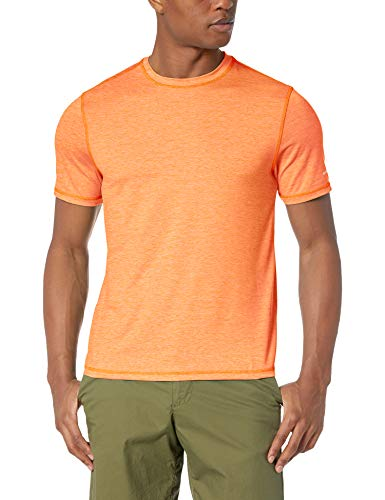 Layered Crewneck T-shirt - G.H. Bass & Co. Men's Sunblocker Short Sleeve Crewneck T-Shirt, Orange Nectar Heather, Large
