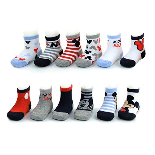 Disney Baby Boys Mickey Mouse Assorted Color Design 12 Pair Socks Set, Age 0-24 Months (12-24 Months, White-Blue-Grey Collection) Disney Mickey Mouse Shoe