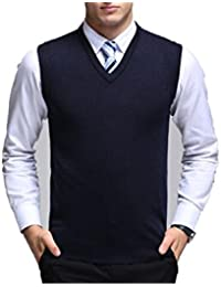 Men's Cashmere Sweater Vest Sleeveless Sweater Office Solid Color V-Neck Wool Vest Pullover