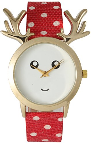 Christmas Fabric Strap Watch Reindeer or Elf with Fashion Patterns (Reindeer with Polka Dot Red)