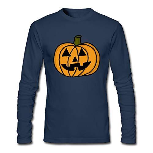 Men's Pumpkin Clip Art Halloween Long-Sleeve Cotton Tee