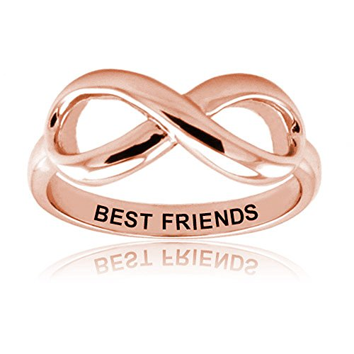 Sterling Silver Rose Gold Plated Best Friends Infinity Ring - Size 9.5 -  West Coast Jewelry, EWC-R51059RG-9.5