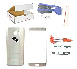 (Md0410) Silver Front Outer Glass Lens + Back Cover + Camera Lens Flash Cover Replacement Compatible Galaxy S7 Edge G935 + Adhesive + Opening Tool (Lcd Screen & Digitizer Not Included)