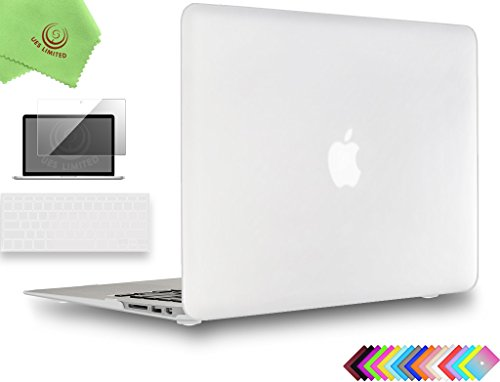 UESWILL 3in1 Smooth Soft-Touch Matte Hard Shell Case Cover for 2008-2017 MacBook Air 13 inch (Model A1466 / A1369) + Keyboard Cover and Screen Protector + Microfibre Cleaning Cloth, Clear