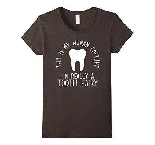 Adult Tooth Fairy Costumes (Womens Funny Human Costume Tooth Fairy T-Shirt Medium Asphalt)
