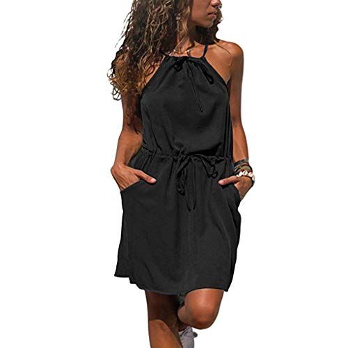 URIBAKE 2019 Women Casual Mini Dress Solid Sleeveless Halter Waist Line Pockes Beach Short Dress Black from URIBAKE