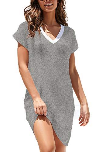 NERLEROLIAN Women T-Shirt Stripe Dress with Pockets V-Neck Knee Length Loose Tunic Summer Dress (Gray,L) - Grey T-shirts Short